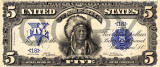 5 dolari 1899 Reproducere Bancnota USD , Dimensiune reala 1:1