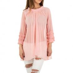 Bluza transparenta, vaporoasa, de culoare roz, M/L, S/M