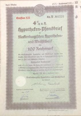 100 Reichsmark titlu de stat Germania 1938 foto