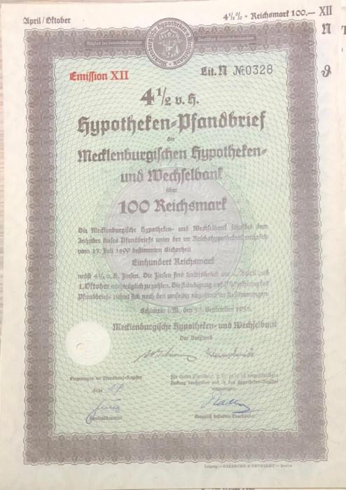 100 Reichsmark titlu de stat Germania 1938