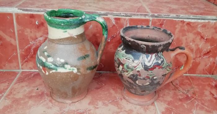 2 cani de lut foarte vechi din 1900
