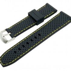 Curea silicon negru cu puncte si cusatura galbena 20mm, 22mm WZ961