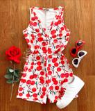 Cumpara ieftin Pijama dama scurta tip salopeta alba fara maneci cu nasturi si imprimeu Cherries