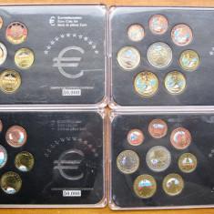 Lot 4 Seturi Monede EURO Colorate Finlanda Germania Luxemburg Slovenia