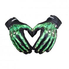 Manusi protectie rezistente la vant, termice, touchscreen, model oase-schelet, marime L, tip III, culoare negru cu verde