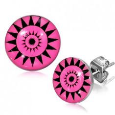 Cercei din oțel inoxidabil, cercuri în formă de soare pe un fond roz