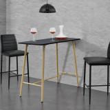 [en.casa]® Masa bar Enkoping, 110 x 50 x 90 cm, MDF/metal, negru HausGarden Leisure, [en.casa]
