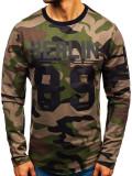 Cumpara ieftin Bluză pentru bărbat fără glugă cu imprimeu camuflaj-kaki Bolf 0743