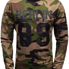 Bluză pentru bărbat fără glugă cu imprimeu camuflaj-kaki Bolf 0743