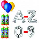 Cumpara ieftin Pachet 20 baloane numere / cifre argintii la alegere, 4 butelii heliu, 100 baloane latex 26cm standard