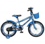 Cumpara ieftin Bicicleta Copii Rich Baby R1603A, Roti 16inch, frana C-Brake, Roti Ajutatoare (Albastru)