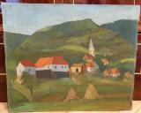 Veche pictura ulei pe carton - Suncuius - Tibor Tolnay