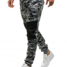 Pantaloni joggers sportivi pentru bărbat camuflaj-gri Bolf QN274