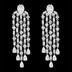 Cercei placati cu Aur 18K si Diamante, Hilary Platinum