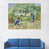 Tablou Canvas, Oameni in Gradina - 20 x 25 cm