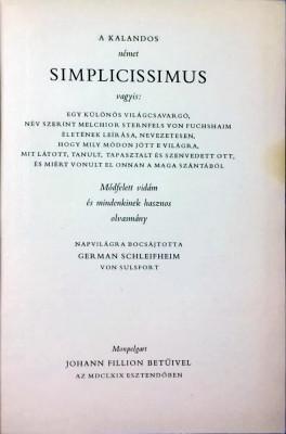 A kalandos Simplicissimus - 1031 (carte pe limba maghiara) foto
