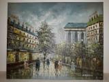 TABLOU ULEI PE PANZA - PEISAJ STRADAL ,PROBABIL PARIS - SEMNAT DREAPTA JOS, Peisaje, Impresionism