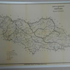 Harta Maramures, 1938, Romania Mare, 32x46 cm, scara 1:250.000, impecabila