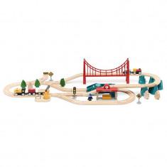 Trenulet electric de jucarie Xiaomi Mi Toy Train, 63 piese magnetice, material lemn, 3 ani+