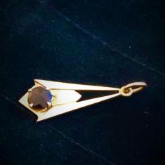 Art Deco Pandantiv Aur 8 k cu Granat