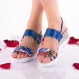 Sandale dama din piele naturala, albastre - NA305ALBASTRU