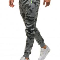 Pantaloni joggers sportivi pentru bărbat camuflaj-gri Bolf ML220