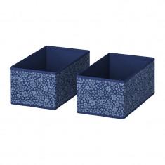 Set 2 cutii pentru depozitare, 20 x 37 x 15 cm, model floral, Albastru/Alb