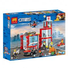 JOC CONSTRUCTIE TIP LEGO,COMPATIBIL 100%,STATIE DE POMPIERI A ORASULUI,537 PIESE