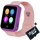 Ceas Smartwatch cu Telefon iUni V88,1.22 inch, BT, 64MB RAM, 128MB ROM, Roz + Card MicroSD 4GB Cadou