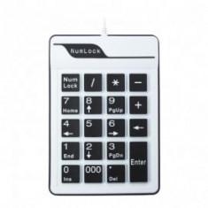 Tastatura NumPad, Silicon, USB, Alb