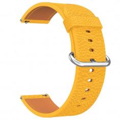 Curea piele, compatibila Huawei Watch GT, telescoape Quick Release, 18cm, Galben