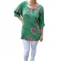 Bluza dama Eda cu imprimeu floral,din bumbac,nuanta de verde, 50, 52, 54, 56