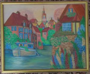 Tablou pictat in acrilic pe panza, 44x54 cm,rama lemn aurie