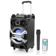 Sistem Boxa Audio Bluetooth Activa Portabila Blow cu Microfon Wireless, Karaoke, Putere 100W, Telecomanda, Radio FM, USB, AUX, Card SD
