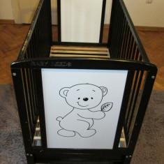 Patut din lemn Baby Needs Timmi,120x60 cm, cu sertar, maro inchis