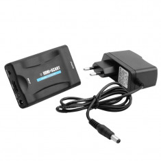 Adaptor convertor HDMI la SCART cu alimentare 5V 2A pt TV vechi 1080p Full HD