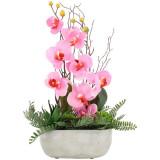 Orhidee artificiala decorativa, alb/roz, 45 cm, in ghiveci AC007