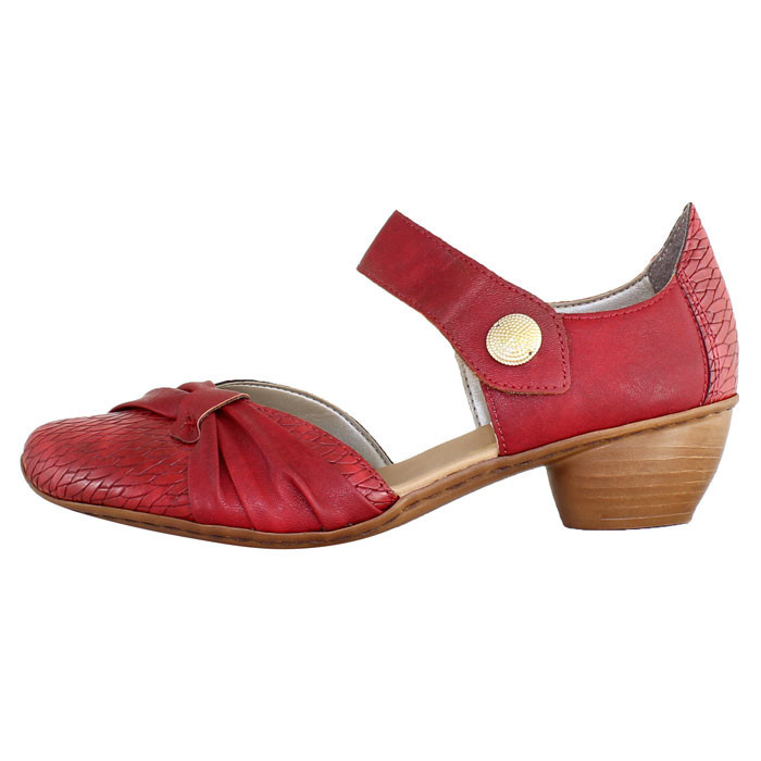 Pantofi cu toc dama piele naturala - Rieker rosu - Marimea 38
