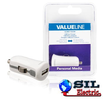 Incarcator pentru masina USB A mama - 12 V, alb