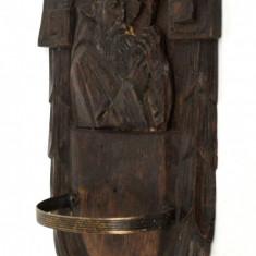 Suport vechi de perete pentru vas apa sfintita lemn sculptat