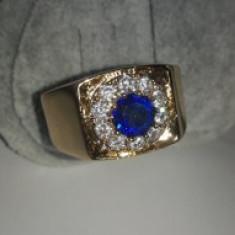 Inel Barbati Luxury Briliant Royal Blue Sapphire,marime 14US