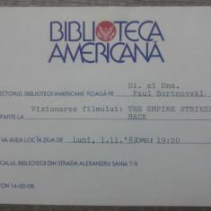 Invitatie Biblioteca Americana pt. Paul Bortnovski, vizionare film Star Wars