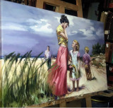 Peisaj pictat, Zi de vara, tablou cu plaja de vara Tablou oameni malul marii, Nud, Ulei, Realism