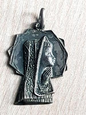 Medalion antic religios - argint 800 - pandant - lantisor - FECIOARA MARIA foto