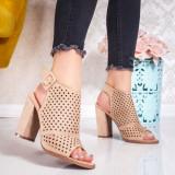 Sandale cu toc dama bej Banesia