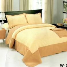 Cuvertura de pat + 2 Fete de Perne - Pat 2 Persoane - 100% Bumbac Brodat - W-005