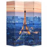 Paravan de cameră pliabil, 160 x 170 cm, Parisul noaptea, vidaXL