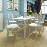 Scaune de bucătărie, 6 buc., alb, lemn masiv de hevea, vidaXL