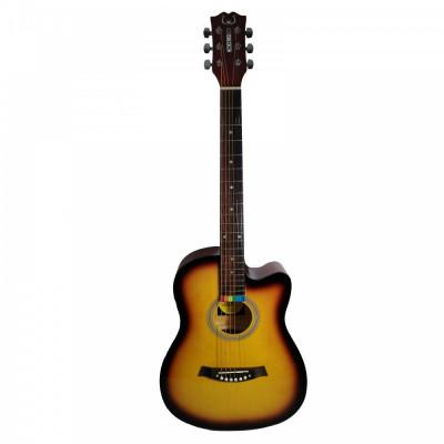 Chitara acustica din lemn 100 cm orange foto