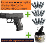 Pachet pistol Walther P99 DAO CO2+15CO2 Umarex+1000 bile airsoft